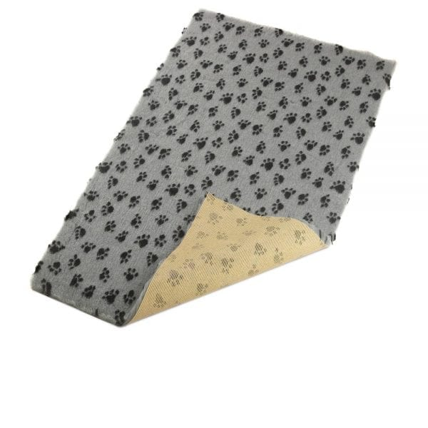 Grey with Paws Pattern - 85x55cm - Non-Slip Soft Vet Bedding